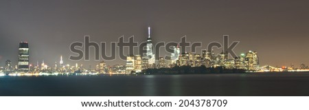 New York City and Jersey City Skyline - stock photo