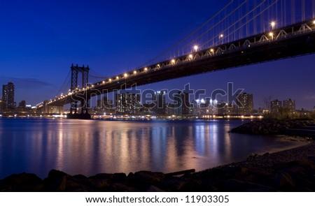 New York City and Manhattan Bridge - stock photo