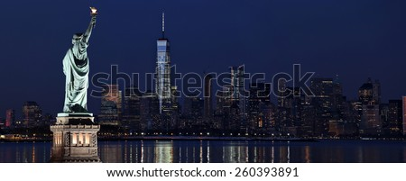 New York City and Statue of Liberty - stock photo