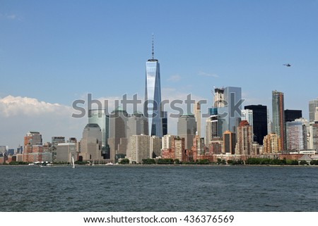 New York City and the Freedom Tower viewed from a ferry in New York Harbor