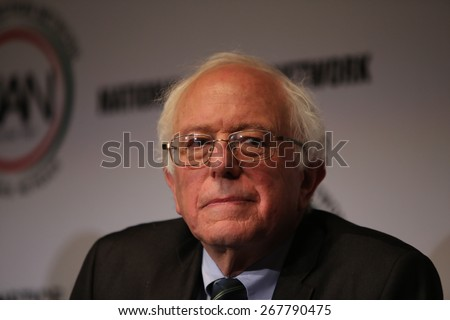 NEW YORK CITY - APRIL 8 2015: a ribbon cutting ceremony opened National Action Network's convention at the Times Square Sheraton as mayor de Blasio & other elected officials presided. Bernie Sanders - stock photo