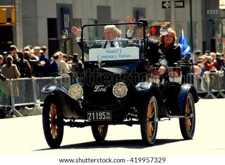 New York City - April 6, 2007:  A vintage model T Ford car leads the Scottish Tartan Day Parade on Avenue of the Americas