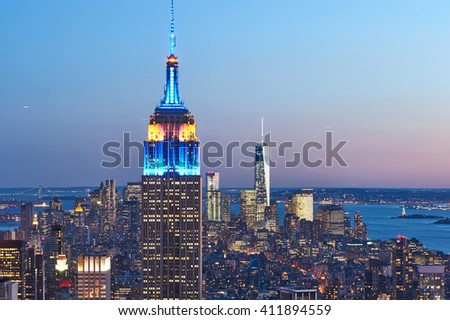 NEW YORK CITY - APRIL 1: Cityscape view of Manhattan, New York City, USA at night,  April 1 2014 in New York, USA  - stock photo