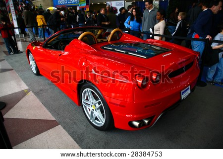 NEW YORK CITY - APRIL 10 : Ferrari F340 Scuderia on display at NY International Auto Show 2009 April 10, 2009 in New York. More than 1 million visitors expected to visit the annual auto show. - stock photo