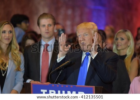 NEW YORK CITY - APRIL 27 2016: Front runner for the Republican presidential nomination Donald Trump gave a speech at Trump Tower in Midtown Manhattan to mark his victory in all five primary races. - stock photo