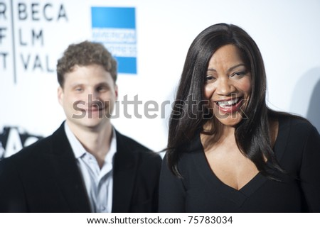 """NEW YORK CITY - APRIL 20: Grace Hightower (r), wife of Tribeca Film Fest founder Robert De Niro, arrives at the World Premier of """"The Union"""" on April 20, 2011 in New York City, NY - stock photo"""