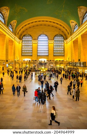 New York City- April 4: Interior of Grand Central Station on April 4, 2014 in New York City, NY. The terminal is the largest train station in the world by number of platforms having 44.