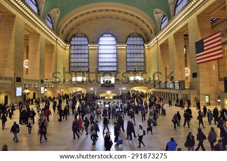 NEW YORK CITY - April, 26. 2015: Main hall of Grand Central Station in New York. The terminal is the largest train station in the world, Manhattan, New York, USA - stock photo