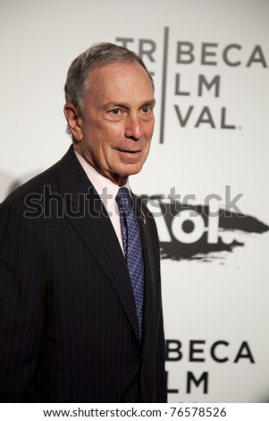 """NEW YORK CITY - APRIL 20: Mayor Bloomberg at the world premier of Elton John's """"The Union"""" on April 20, 2011 in New Your City, NY. - stock photo"""