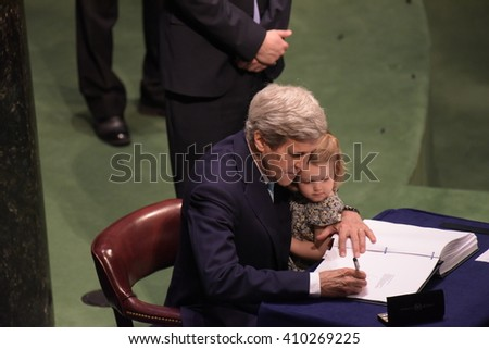 NEW YORK CITY - APRIL 22 2016: Opening ceremonies at the United Nations General Assembly took place prior to member nations signing the Paris Climate Accord. US secretary of state John Kerry - stock photo