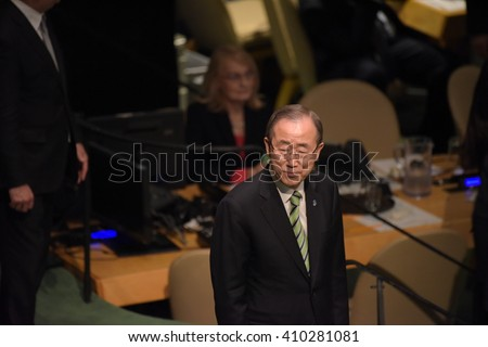 NEW YORK CITY - APRIL 22 2016: Opening ceremonies at the United Nations General Assembly took place prior to member nations signing the Paris Climate Accord. UN secretary-general Ban Ki-Moon