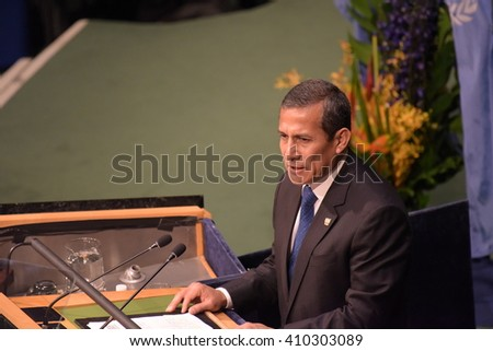 NEW YORK CITY - APRIL 22 2016: Opening ceremonies at the United Nations General Assembly took place prior to member nations signing the Paris Climate Accord. Peruvian president Ollanta Humala - stock photo