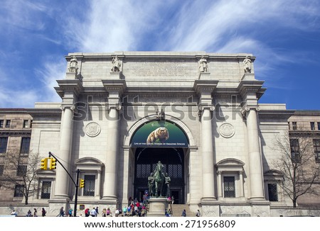 NEW YORK CITY - APRIL 19: The American Museum Of Natural History in Midtown Manhattan as seen on April 19, 2015 - stock photo