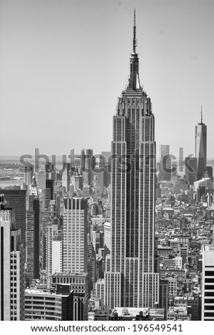 NEW YORK CITY - APRIL 21, 2013: The Empire State Building on a beautiful spring morning. It stood as the world's tallest building for nearly 40 years, from its completion in early 1931.