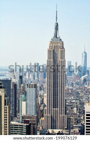 NEW YORK CITY - APRIL 21, 2013: The Empire State Building on a beautiful spring morning. It stood as the world's tallest building for nearly 40 years, from its completion in early 1931. - stock photo