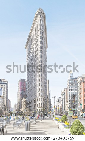 NEW YORK CITY - APRIL 19: The Flatiron Building facade with vintage effect on April 19, 2015 in New York City.  - stock photo