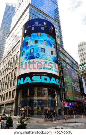 NEW YORK CITY - APRIL 18: The headquarters of the NASDAQ Stock Exchange, the second largest trading market in the world, in Times Square April 18, 2010 in New York, New York. - stock photo