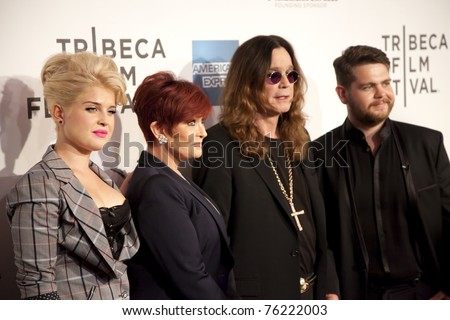 "NEW YORK CITY - APRIL 24: The Osbourne clan, Kelly, Sharon, Ozzy and Jack (l-r), attend the premiere of the documentary ""God Bless Ozzy Osbourne"" at the Tribeca Film Festival on April 24, 2011 in New York City, NY - stock photo"