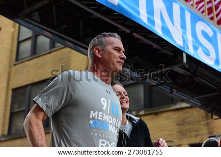 NEW YORK CITY - APRIL 26 2015: the 3rd annual Memorial 5K walk/run took place in Lower Manhattan to raise awareness of the National 911 Museum & Memorial followed by family day on Greenwich Street