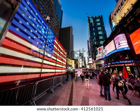 NEW YORK CITY - APRIL 21: Times Square, featured with Broadway Theaters and animated LED signs, is a symbol of New York City and the United States, April 21, 2016 in Manhattan, New York City. USA. - stock photo