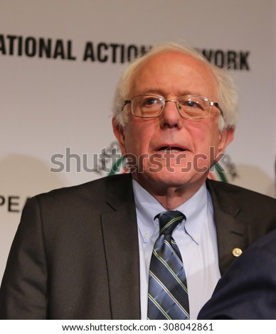 NEW YORK CITY - APRIL 8 2015: Vermont senator & presidential candidate Bernie Sanders attends National Action Network convention in Midtown Manhattan - stock photo