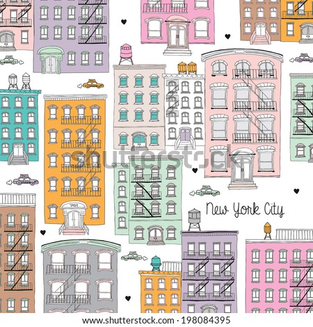 New York City architecture home illustration postcard design in pastel colors - stock photo