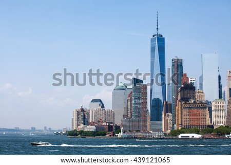 New York City at Lower Manhattan skyscrapers and One World Trade Center - stock photo