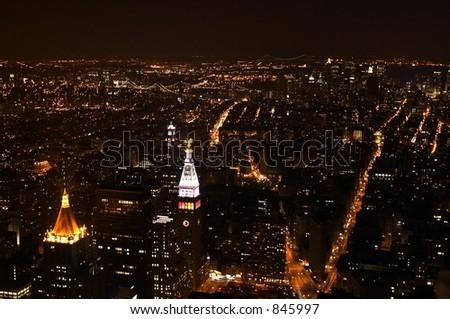 New York City at Night - stock photo
