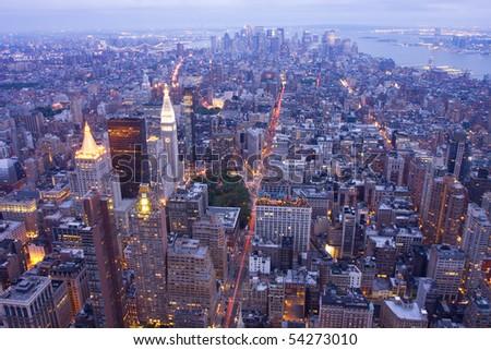 New York City at night, aerial view - stock photo