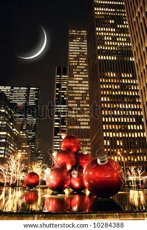 New York city at night during christmas holiday - stock photo