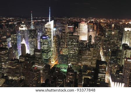 New York City at night, view from Empire Building - stock photo