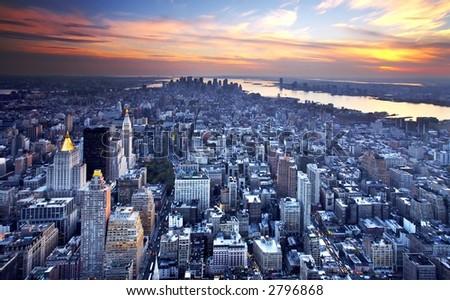 New York City at Sunset - stock photo