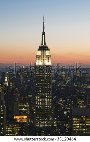New York City at Sunset - stock photo