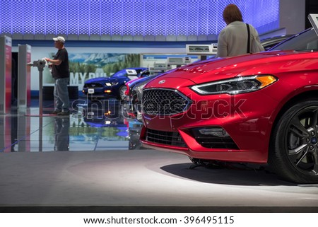 New York City - 3/25/16 - At the New York International Auto Show, Ford showcases their current lineup of mid and small size cars. - stock photo