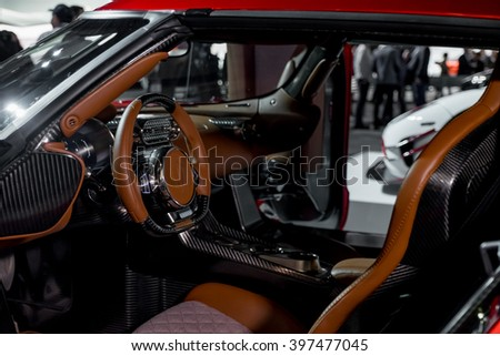 New York City - 3/25/16 - At the New York International Auto Show, the Interior of the Koenigsegg Regera  - stock photo
