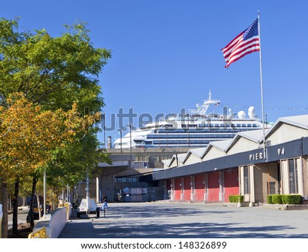 NEW YORK CITY - Aug 30: Pier 94 the famous event venue and a cruise ship on August 30, 2012 in Manhattan, New York City. - stock photo