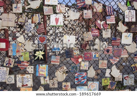 NEW YORK CITY - AUG 3, 2010: Tiles for America, a 5000 tile 9/11 memorial in Greenwich Village on August 3, 2010 in New York City. - stock photo