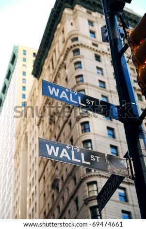 """NEW YORK CITY - AUG 8: Wall Street, a metonym for the """"influential financial interests"""" of the American financial industry. August 8, 2010 in Manhattan, New York City. - stock photo"""