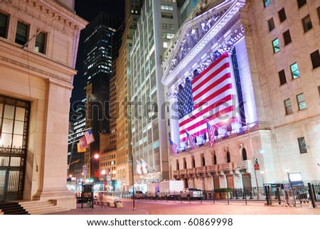 "NEW YORK CITY - AUG 8: Wall Street, a metonymy for the ""influential financial interests"" of the American financial industry. August 8, 2010 in Manhattan, New York City. - stock photo"