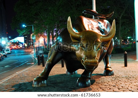 NEW YORK CITY - AUG 7: Wall Street Charging Bull, the symbol of aggressive financial optimism and prosperity and the famous landmark of Wall Street, on August 7, 2010 in Manhattan, New York City. - stock photo