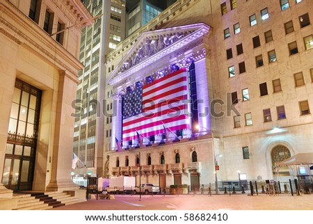 NEW YORK CITY - AUG 8: Wall Street New York Stock Exchange, the world's largest stock exchange by market capitalization, at night. August 8, 2010 in Manhattan, New York City. - stock photo