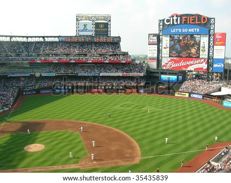 NEW YORK CITY - AUGUST 15 : A Major League Baseball game in progress between the New York Mets and San Francisco Giants at Citi Field August 15, 2009 in Queens, New York. - stock photo