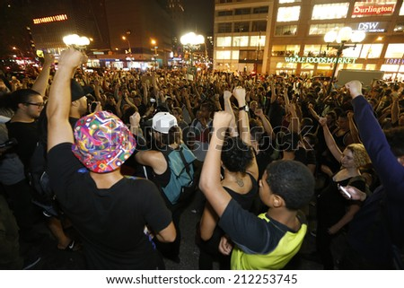 NEW YORK CITY - AUGUST 20 2014: Activists staged rally at Sara Roosevelt Park in the Lower East Side of Manhattan before marching to Union Square Park with NYPD making several arrests - stock photo