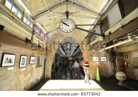 NEW YORK CITY - AUGUST 25: Chelsea Market is an enclosed urban food court, shopping mall, office building and television production facility on August 25, 2011 in New York, NY. - stock photo