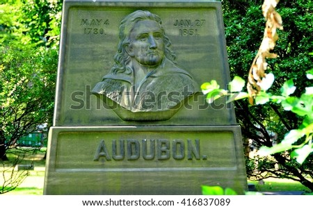 New York City - August 10, 2013:  Gravesite of American ornithologist and naturalist John James Audubon at Holy Trinity Church Cemetery on upper Broadway at West 155th Street