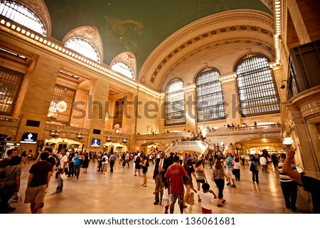 NEW YORK CITY - AUGUST 18: Interior of Grand Central Station on  August 18, 2012 in New York City, NY. The terminal is the largest train station in the world by number of platforms having 44. - stock photo