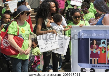 NEW YORK CITY - AUGUST 8 2014: the NYC Breastfeeding Leadership Council staged a rally at City Hall followed by a Breastfeeding Subway Caravan to celebrate the 20th anniversary of Civil Rights Law 79e