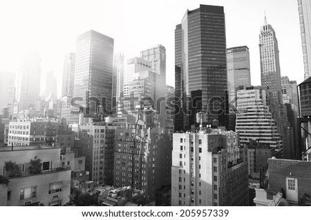 New York City, black and white - stock photo
