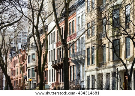 New York City block of apartment buildings in the upper west side of Manhattan - stock photo