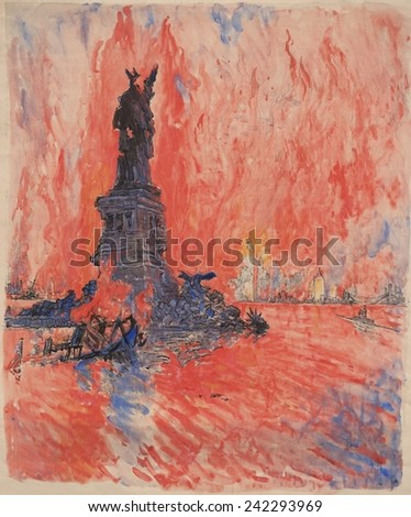 New York City, bombed, shot down, burning, blown up by the enemy, is how artist Joseph Pennell described his 1918 painting for a World War I Liberty Bond drive. - stock photo